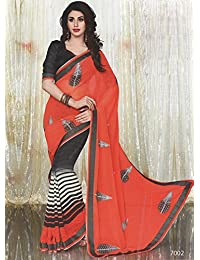Aarti Saree Fancy Wear Embroidery Saree With Un-Stitched Blouse Piece - B01ARSYLF4