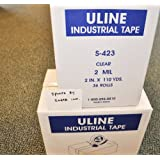 2 Cases of Clear Uline Packing Shipping Box Tape Model S-423 Industrial 2.0 Mils