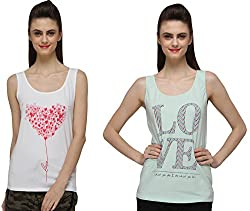 Pepperika Casual Sleeveless Printed Women's Tops (Pack Of 2)