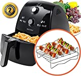 Secura 4 Liter, 4.2 Qt., Extra Large Capacity 1500 Watt Electric Hot Air Fryer and additional accessories; Recipes,Toaster rack and Skewers