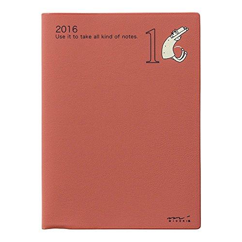 ミドリ ポケットダイアリー 手帳 2016 10月始まり ウィークリー A6 オジサン柄 27423006
