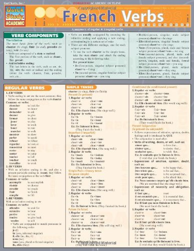 French Verbs Laminate Reference Chart (Quick Study Academic)