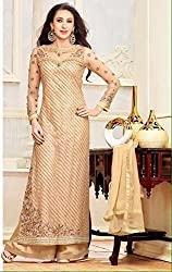 KHAZANAKART FASHION GOLDEN SILK DESIGNER DRESS MATERIALS