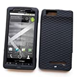 "Motorola DROID X MB810 & Droid X2 MB870 (Verizon) Skin Case Protector Soft Silicone ""Basket Weave Texture Grip"" Black ~ Cellular Connection"