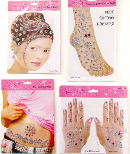 Set of 4 Body Art Temporary Tattoos Women: 3-D Large Temporary Tattoos with Glitter and Rhinestones - Hand Tattoos, Foot Tattoos, Belly Tattoos, and Matching Hair Stickers - 1