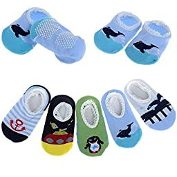 HSELL® 5 Pairs Assorted Baby Toddler Cartoon Animal Style Anti Slip Skid Cotton Socks Booties For Age 0-2, Length 9-15cm/3.54-5.9inch (Boy\'s Style)