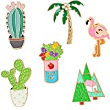 Cute Enamel Lapel Pin Set - 7pcs Cartoon Brooch Pin Badges for Clothes Bags Backpacks - Rainbow Cactus Succulent Leaves Pineapple