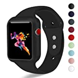 KEASDN Compatible with Apple Watch Band with Case 38mm 42mm, Silicone Sport iWatch Strap Band with Shock-Proof Case Compatible with Apple Watch Series 3/2/1 (Color: Black, Tamaño: 42mm M/L)