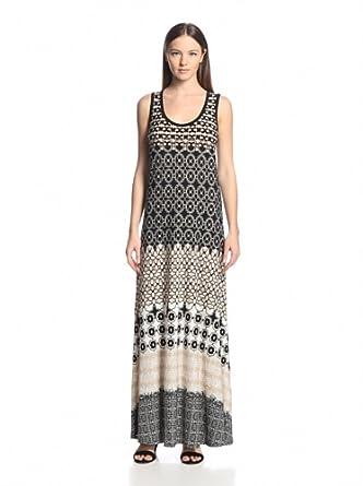 Calvin Klein Women's Printed Maxi Dress, Black/Ivory, X-Large