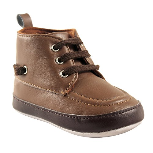 Luvable Friends Boys' High Top Boat Shoe Boot, Brown, 0-6 Months M US Infant