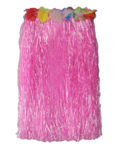 (Price/6 Pieces)23.5 Inch Long Adult Grass Skirt, Flowered Hula Skirt-Pink