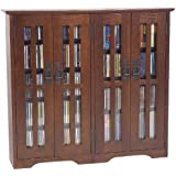 Leslie Dame M-380W Wall Mounted Mission Style Media Storage Cabinet, Walnut