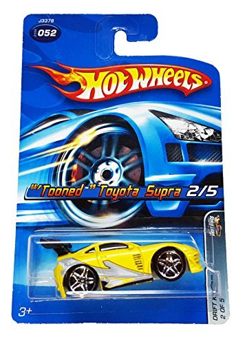 Mattel Hot Wheels 2006 1:64 Scale Tooned Yellow Toyota Supra 2/5 Die Cast Car #052