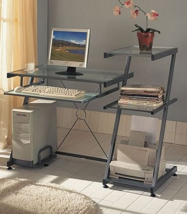 Buy Low Price Comfortable Contemporary Grey Metal Computer Desk w/Book Shelf & keyboard Tray (B0006SPS4O)