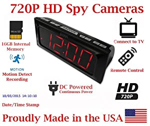 [100% COVERT] SecureGuard HD 720p Onn Large Display Alarm Clock Radio Spy Camera Covert Hidden Nanny Camera Spy Gadget