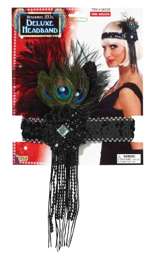 Forum Novelties Roaring 20's Sequin Flapper Headband with Feather, Black, One Size
