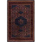Surya HVN1216-3656 Hand Knotted Casual Accent Rug, 3-Feet 6-Inch by 5-Feet 6-Inch, Eggplant/Burgundy/Navy/Cherry
