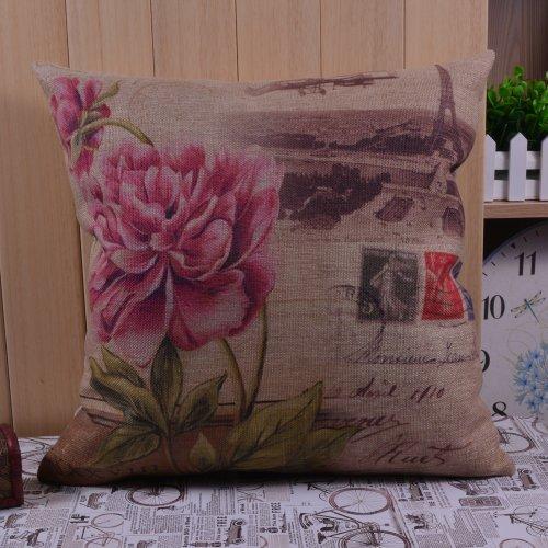 45X45Cm Retro Shabby Chic Flower Eiffel Tower Paris Linen Pillow Case Cushion Cover front-311237
