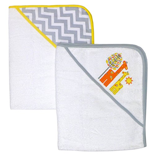Happy Chic by Jonathan Adler Applique, Print Interlock, Woven Terry Hooded Towel, Yellow Giraffe, 2 Count