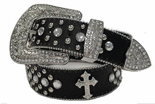 Deal Fashionista BLACK CROSS Concho Western Rhinestone Bling Studded Removable Buckle Belt