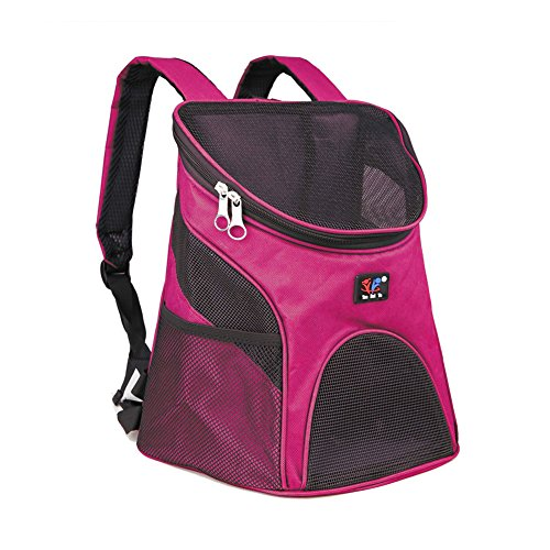 Dog Cat Pet Soft-sided Pet Carrier / Mesh Pup Pack / Travel Cat Litter / Travel Backpack / Dog House with Mesh Window for Pet Backpack Pet Carrier (Magenta )