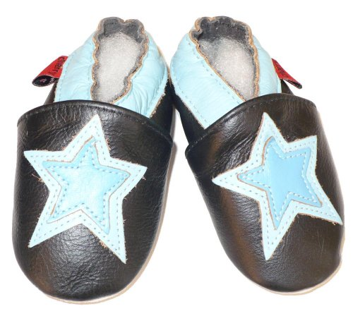 Soft Leather Baby Shoes Blue Star 12- 18 Months