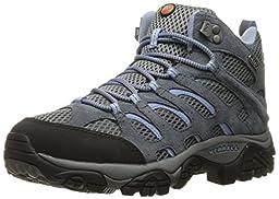 Merrell Women\'s Moab Mid Waterproof Hiking Boot, Grey/Periwinkle, 7.5 W US