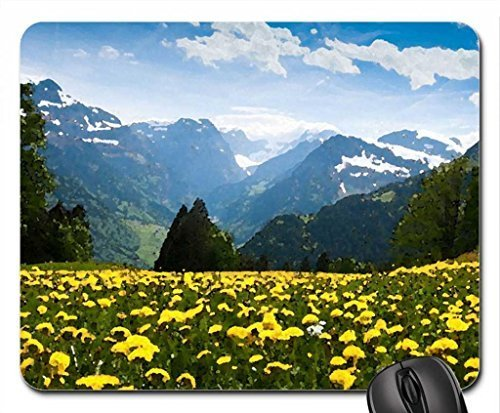 flowering mountain meadow in spring Mouse Pad, Mousepad (Flowers Mouse Pad, Watercolor style) by icecream design