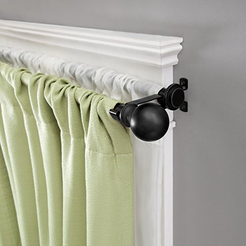 Kenney Double Matte Window Curtain Rod Ball End, 66 to 120-Inch, Black