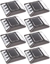 8 Pack White Commerical Aluminum Solar Road Stud Path Dock LED Light with Anchor