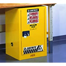 "Justrite Sure-Grip EX 891220 Safety Cabinet for Flammable Liquids, 1 Door, 1 Shelf, Self Close, 12 gallon, 35""Height, 23-1/4""Width, 18""Depth, Steel, Yellow"