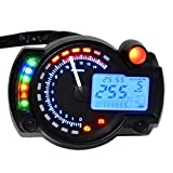 Creazy® Backlight LCD Digital Motorcycle Speedometer Odometer Motor Bike Tachometer (Black) (Color: Black)