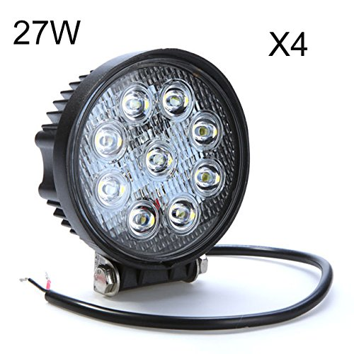 4 Pcs 27W Round Led Work Light Bar Flood Beam Atv Off Road Truck Suv 12V/24V