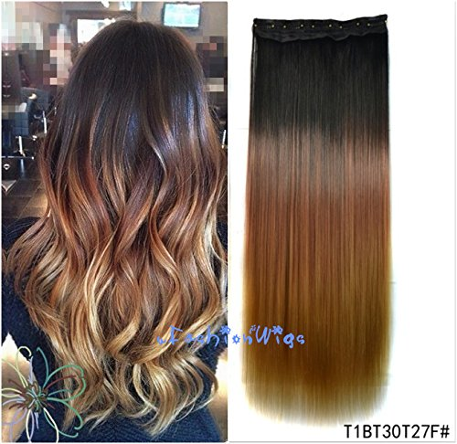 Black To Golden Brown To Strawberry Blonde Three Colors Ombre Hair