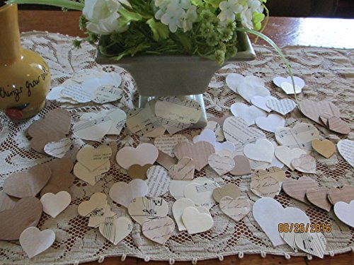 Heart Shaped Rustic Wedding Table Confetti, Country Chic Wedding Decor, Shower Decor, Wedding Confetti
