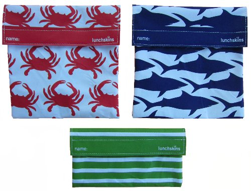 LunchSkins Reusable Sandwich and Snack Bags Set - 3 Pack - Orange Crab, Navy Shark, Green Stripes