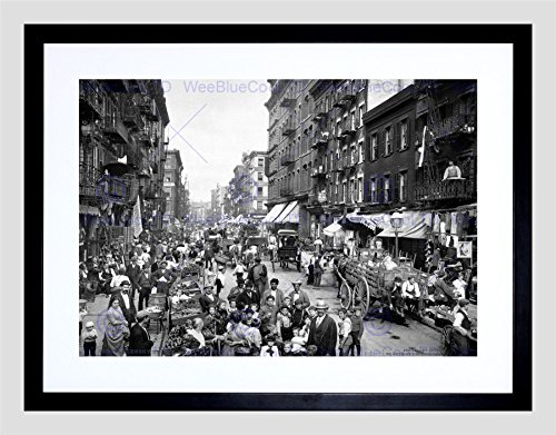 MULBERRY STREET NEW YORK CITY 1900 VINTAGE OLD BW BLACK FRAME FRAMED ART PRINT PICTURE + MOUNT B12X429 (Paint New York compare prices)