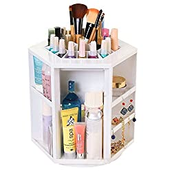 EVANA XL Plastic 360-degree Spinning Cosmetic Organizer Display Makeup Box Brush Cleanup Rotating Desktop Storage (White)