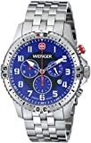 Wenger Squadron Chrono Men's Quartz Watch with Blue Dial Analogue Display and Silver Silicone Bracelet 77060