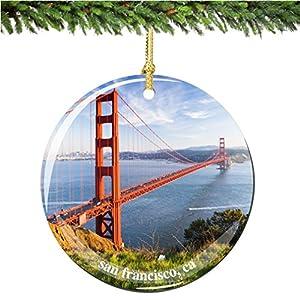 "San Francisco Golden Gate Bridge Christmas Ornament, Porcelain 2.75"" Double Sided California Christmas Ornaments"