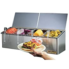 "San Jamar FP8245NL EZ-Chill Stainless Steel Self-Service Center with Notched Flex Lid, 25-1/8"" Width x 8"" Height x 7-5/8"" Depth"