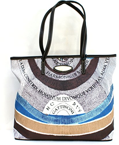 Gattinoni Borsa Donna Shopper Horizontal Vertical Zip Cm 33x31x14 Marrone / Multicolor