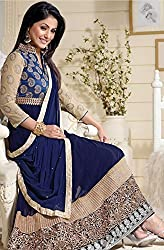 Shree Fashion Woman's Georgette With Dupatta [Shree (68)_Blue]