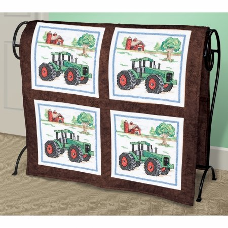 Janlynn 21-1476 Tractor Quilt Blocks Stamped Cross Stitch-15X15 6/Pkg
