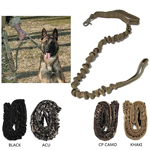 Nylon Tactical K9 Pet Dog Lead Training Leash Elastic Bungee Canine Strap Rope Traction Harness Collar (ACU) (Rope Lights 75 Feet compare prices)