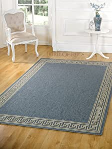 "Modern Large Flatweave Blue Rug in 120 x 170 cm (3'11 x 5'7"") Carpet by Lord of Rugs"