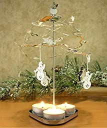Spinning Snowmen - Tealight Spinning Candle Holder - Swedish Candle Scandinavian Chimes Design