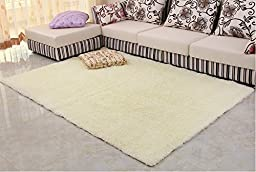 Norson Home Textiles, Super Soft Modern Shag Area Rugs Off-white Living Room Carpet Bedroom Rug Washable Rugs Solid Home Decorator Floor Rug and Carpets (55.1* 78.7 inches (140* 200 cm), Off-white)