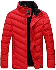 UBon Men Winter Thicken Cotton Stand Collar Outwear Coat Red Small