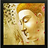 SAF Buddha Painting || Buddha Painting || Buddha Poster || Buddha Wall Stickers || SAF Exclusive Framed Wall Art Paintings For Living Room And Bedroom. Frame Size (12 Inch X 12 Inch, (Wood, 30 Cm X 3 Cm X 30 Cm, Special Effect Textured)
